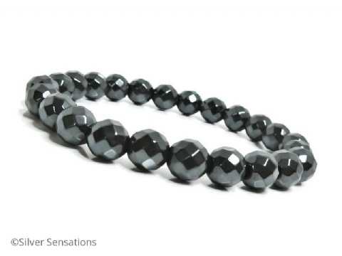 Faceted Hematite Unisex Beaded Fashion Bracelet